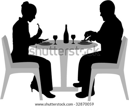 couple sitting and dining silhouettes - vector - stock vector