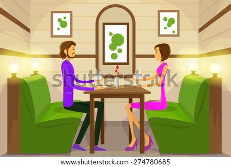 Couple Sitting Cafe Table Drink Coffee Romantic Love Dating Vector Illustration - stock vector