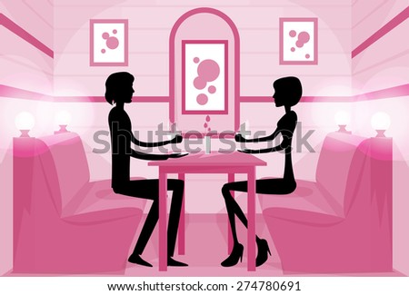 Couple Sitting Cafe Table Drink Coffee Romantic Love Silhouettes Dating Pink Color Vector Illustration - stock vector
