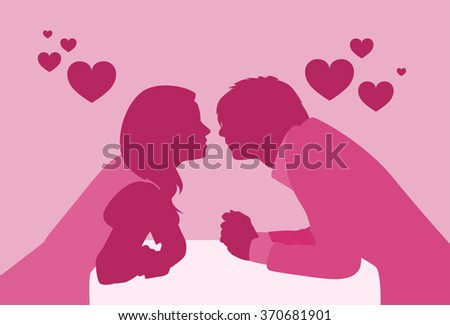 Couple Sitting Cafe Table Kiss Romantic Love Pink Color Silhouettes Dating Vector Illustration - stock vector