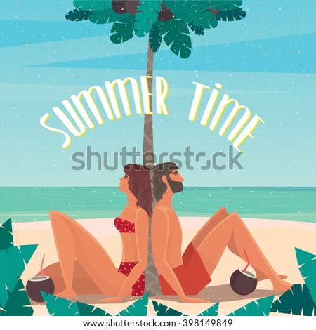 Couple sitting on a beach under a palm tree by the sea leaned back on a palm tree - Paradise or utopia concept. Vector illustration - stock vector