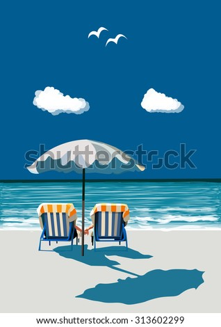Couple sitting on deck chairs on the beach under umbrella, holding hands, on vacation, vector illustration - stock vector