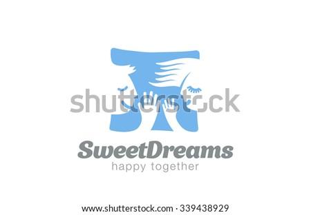 Couple Sleeping on Pillow Logo design vector template. Sweet dreams man & woman Logotype concept icon negative space. - stock vector