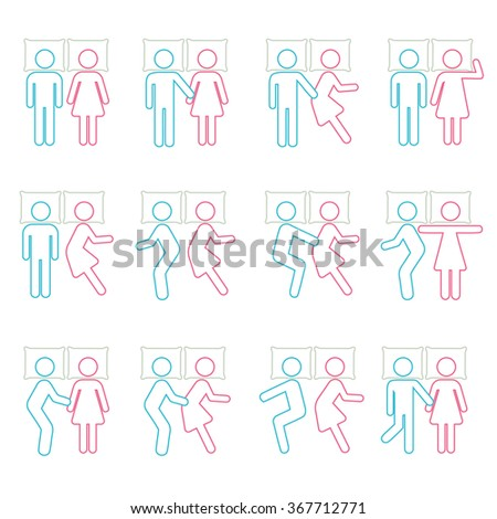 Couple Sleeping Position on Bed Icon Symbol Sign Pictogram - stock vector