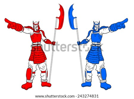 Couple soldiers - stock vector