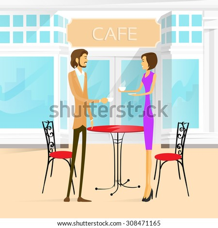 Couple Street Cafe Outdoor at Table Drink Coffee Vector Illustration - stock vector