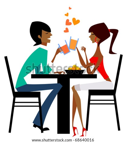 couple talking in the table