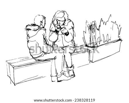 Couple talking while sitting on a bench in the mall - stock vector