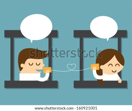 couple talking with can telephone - stock vector