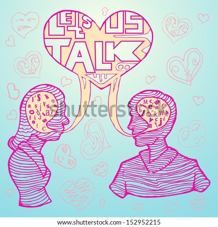 couple talking with love icon in line hand draw style - stock vector