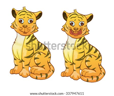 couple tiger isolated on white cartoon illustration - stock vector