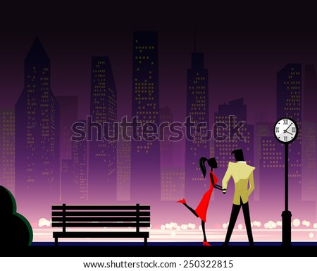 Couple under the clock in city park - stock vector