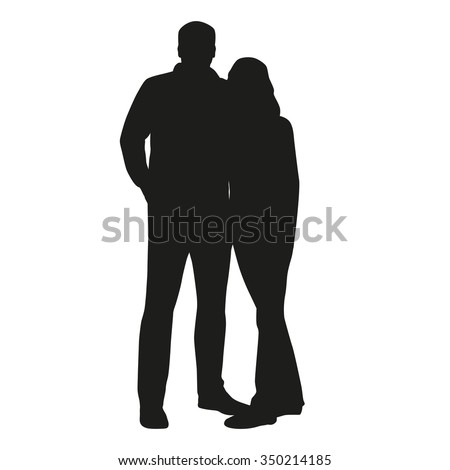 Couple vector silhouette. Hugging people - stock vector