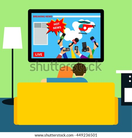 Couple watching hot news on television sitting on couch in room. Flat style room interior, with tv, couch and couple. Breaking tv news theme.  - stock vector