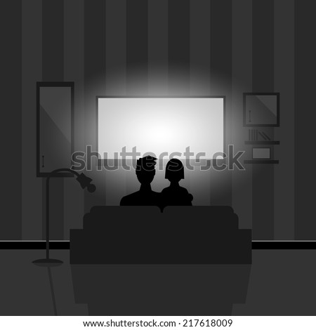 Couple watching movie on TV at night - stock vector