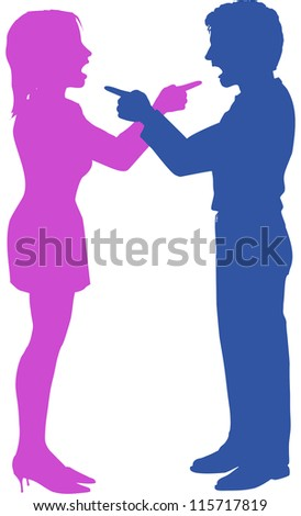 Couple yell point fight at each other in argument - stock vector