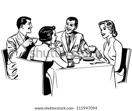 Couples Dining - Retro Clipart Illustration