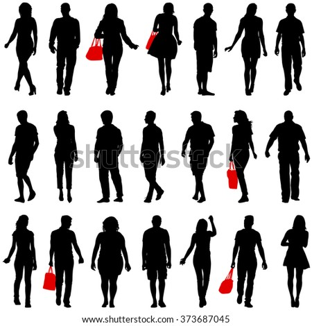Couples man and woman silhouettes on a white background. Vector illustration. - stock vector