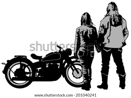 Couples people and retro bike on white background - stock vector