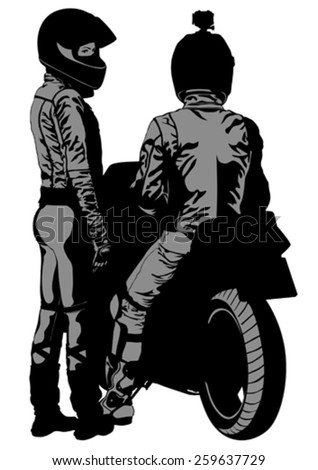 Couples people and sport bike on white background - stock vector