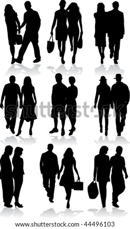 couples - profiles of people - stock vector