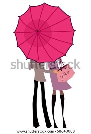 couples under the umbrella - stock vector