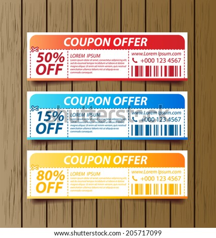 Coupon sale, offers and promotions vector template. - stock vector