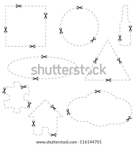 Coupon scissors line - stock vector