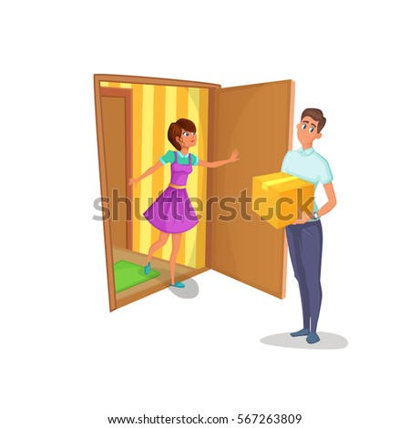 Courier brought package to women at home. Housewife open the door of apartment and meets