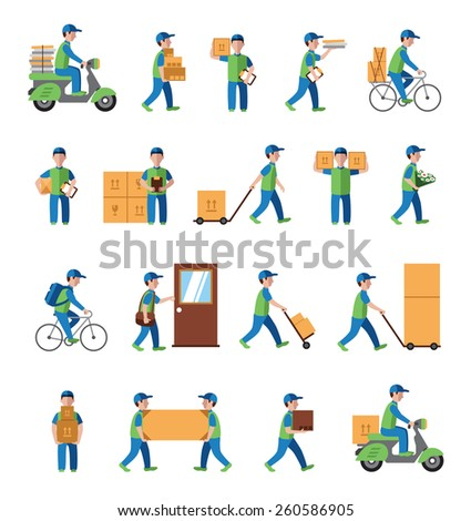 Courier, delivery, postman people. Flat style icon vector - stock vector