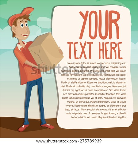 Courier delivery services carrying heavy post parcel and text banner - Vector Illustration - stock vector