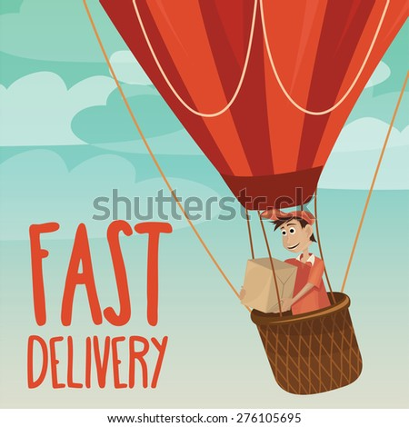 Courier delivery services with heavy post parcel and hot air balloon - Vector Illustration - stock vector
