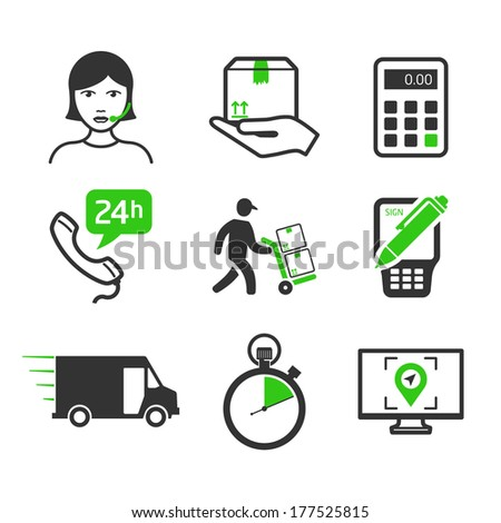 Courier services icons set - stock vector
