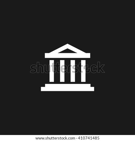 Court building white icon on gray background
