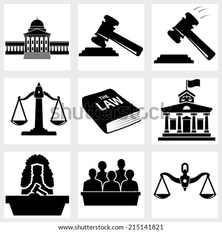 Court icon vector black on white background - stock vector
