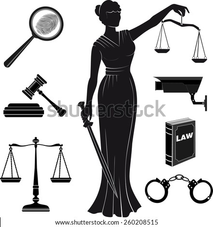 court.Set of icons on a theme the judicial.law.Themis goddess . lady justice. - stock vector