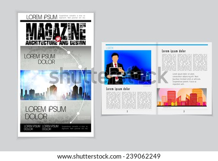 Cover and magazine layout. Vector  - stock vector