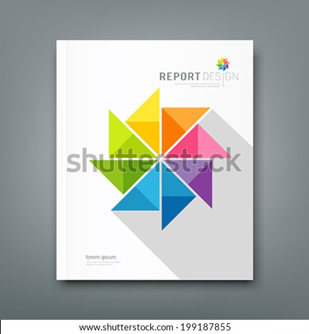 Cover Annual report, colorful windmill origami paper design, vector illustration - stock vector