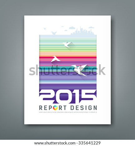 Cover Annual report flying birds and silhouette building on colorful lines background design, vector illustration