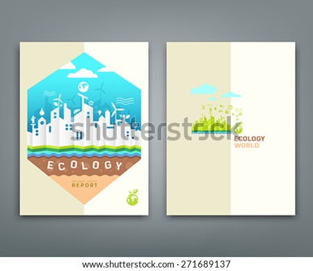 Cover Annual Report Origami Building Ecology Concept Design Background Vector Illustration
