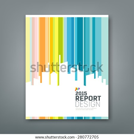 Cover Annual report silhouette building colorful background design, vector illustration