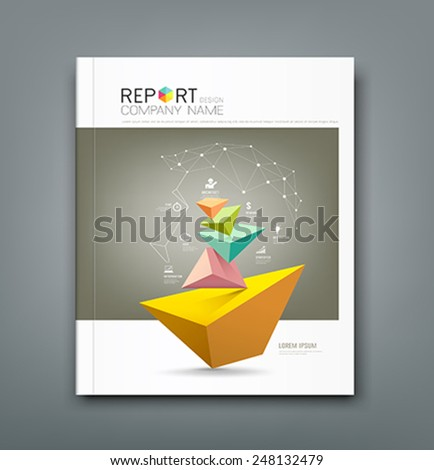 Cover Annual Report triangle connection head and business icons design, vector illustration