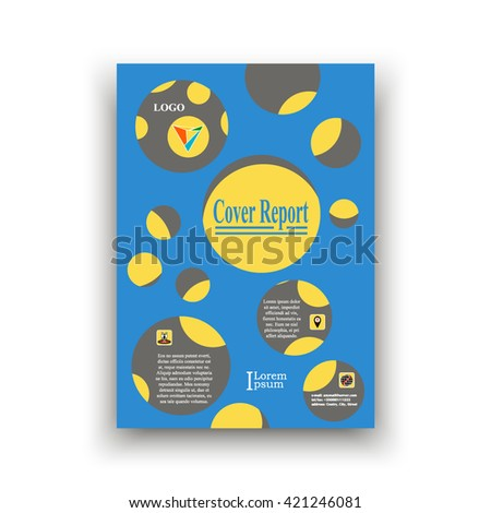 Cover blue with cut circles under which the yellow circles on a gray background , with examples title, text, logo and icons. Vector Illustration. Abstract composition. cover report. Creative. Book