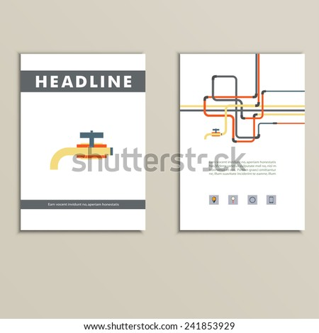 Cover book with background of water pipes. - stock vector