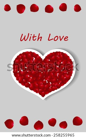 Cover cards for the woman with red heart laid out petals of red roses - stock vector