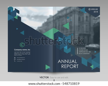 Cover design annual report,vector template brochures, flyers, presentations, leaflet, magazine a4 size. Dark blue , blue and green polygons on a image background