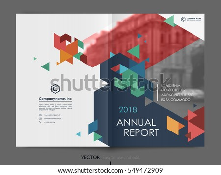Cover design annual report,vector template brochures, flyers, presentations, leaflet, magazine a4 size. Dark blue, blue, red and green polygons on a white background