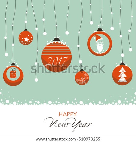 Cover design for the new year. Depicts Christmas decorations in red with symbols of the new year: Santa Claus,Christmas tree, snowflake, gift inscription happy new year.