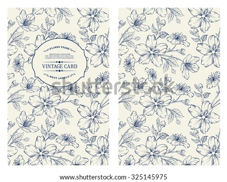 Cover design for you personal cover. Spring sakura flowers. Floral theme for book cover. Flower texture illustration in style of engraving. Vector illustration.