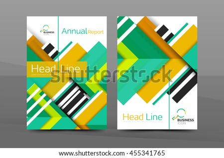 Cover design of annual report cover brochure, Vector modern abstract background template, layout A4 size page - stock vector